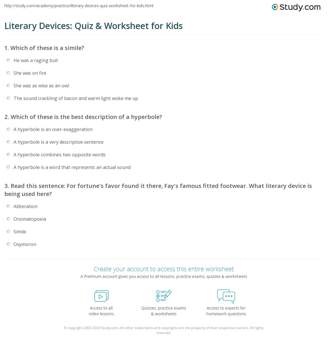 Literary Elements Worksheet High School Literary Devices Quiz & Worksheet for Kids