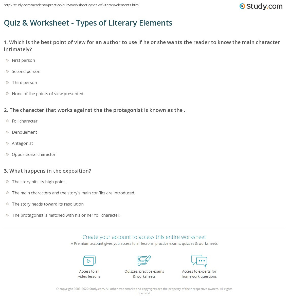 Literary Elements Worksheet High School Quiz & Worksheet Types Of Literary Elements