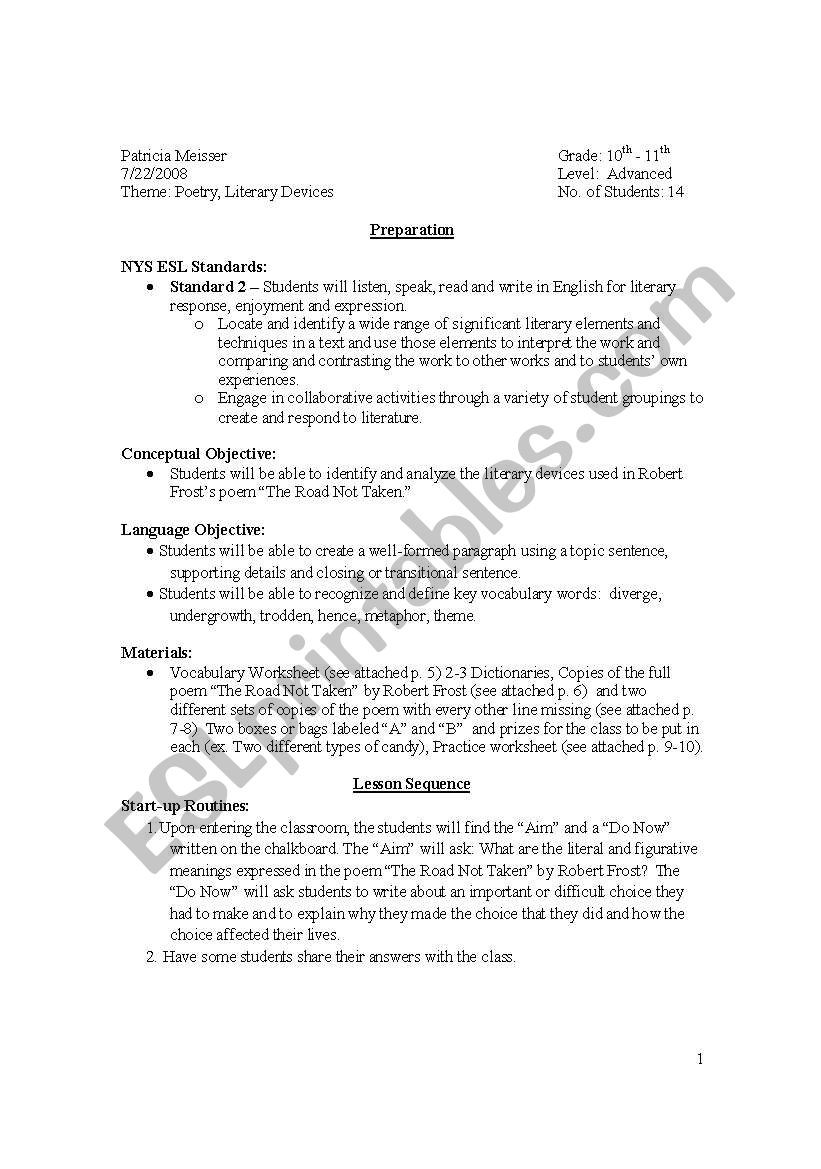 "Literary Elements Worksheet High School Robert Frost ""the Road Not Taken"" Lesson Plan and Worksheets"
