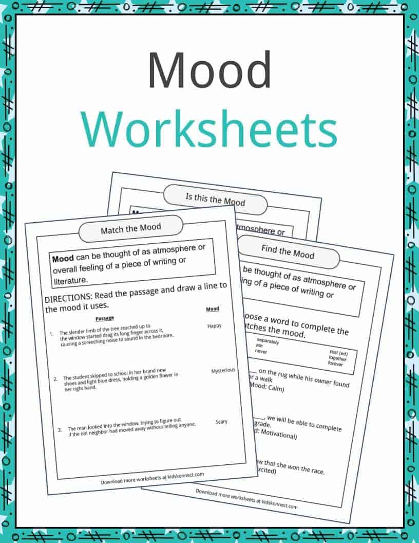 Literary Elements Worksheets High School Mood Examples Definition and Worksheets