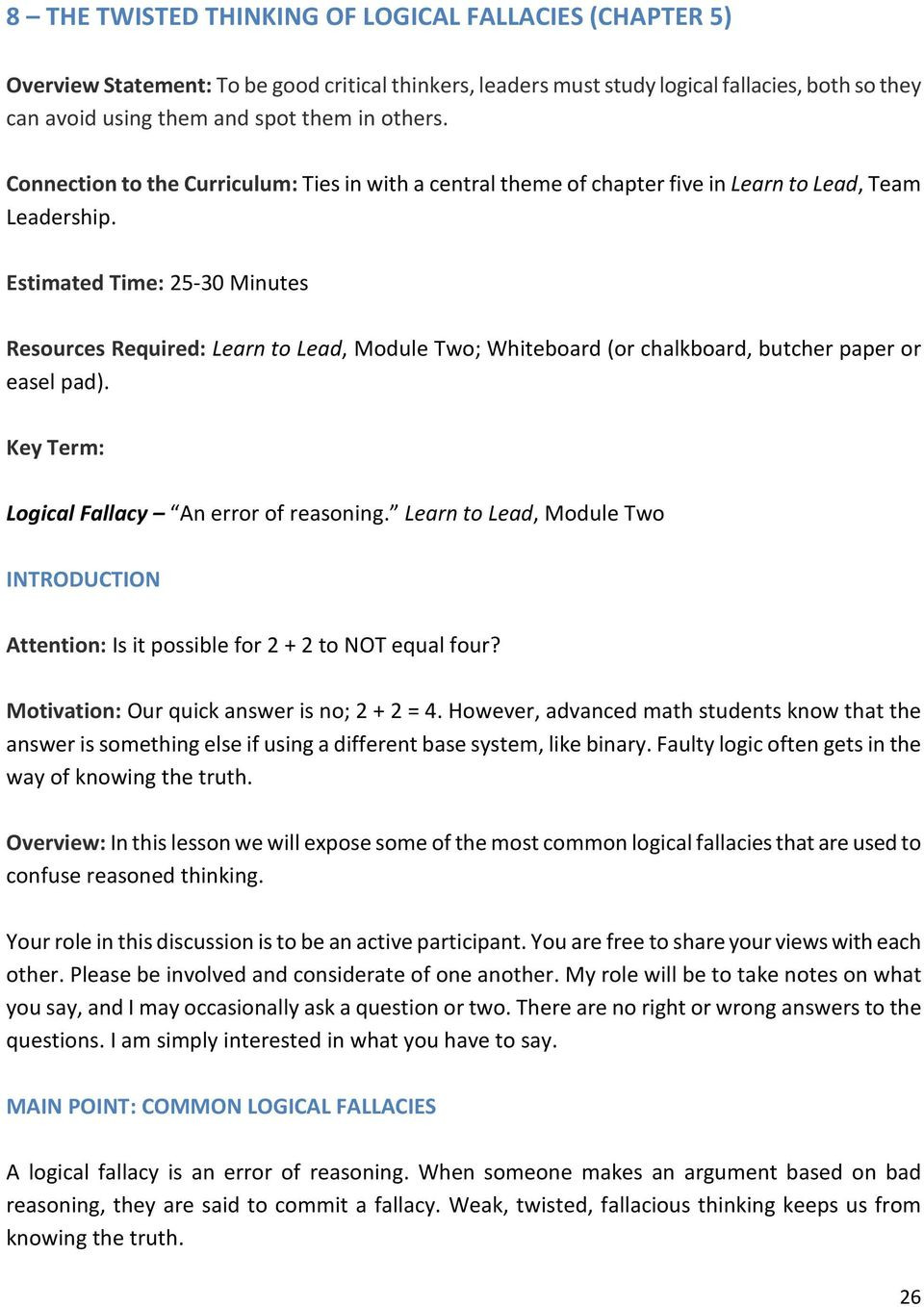 Logical Fallacies Worksheet High School 8 the Twisted Thinking Of Logical Fallacies Chapter 5