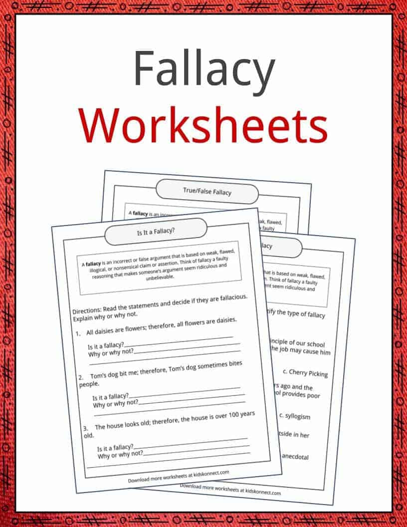 Logical Fallacies Worksheet High School Fallacy Examples Definition and Worksheets