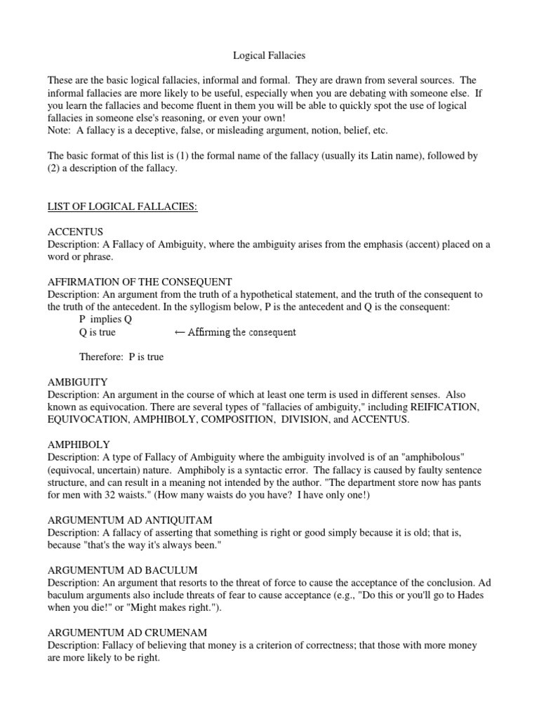 Logical Fallacies Worksheet High School Logical Fallacies Fallacy Argument