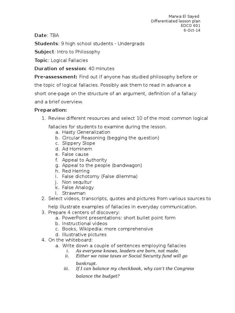 Logical Fallacies Worksheet High School Logical Fallacies Lesson Plan Fallacy