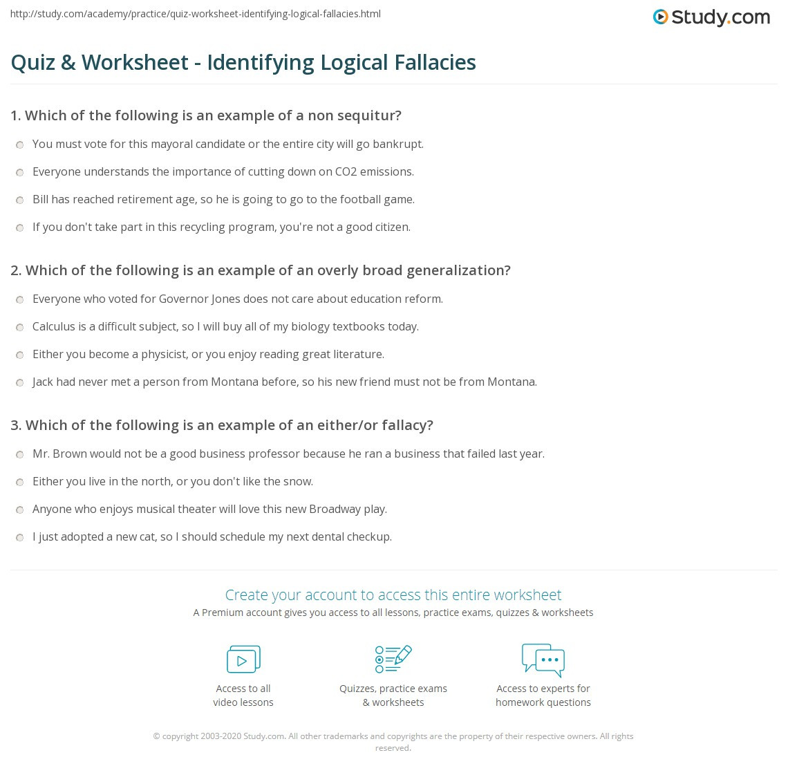 Logical Fallacies Worksheet High School Quiz & Worksheet Identifying Logical Fallacies