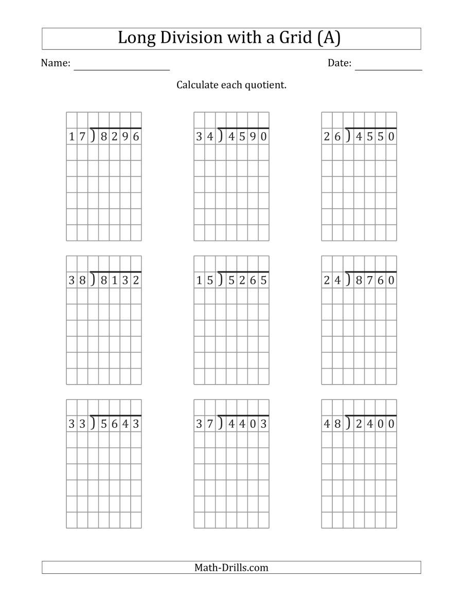 Long Division Worksheets Grade 5 4 Digit by 2 Digit Long Division with Grid assistance and No
