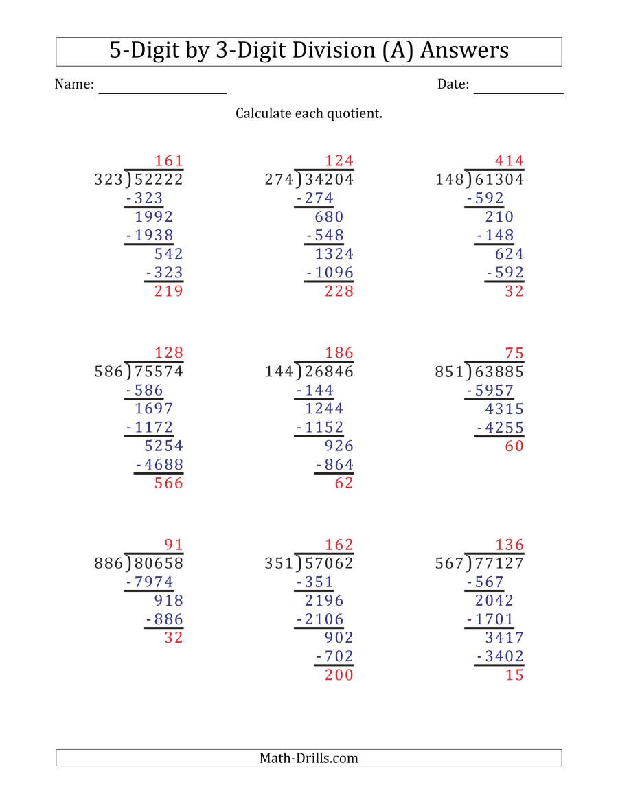 Long Division Worksheets Grade 5 5 Digit by 3 Digit Long Division with Remainders and Steps