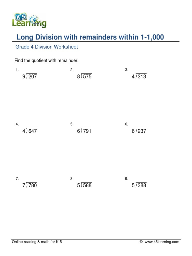 Long Division Worksheets Grade 5 Grade 4 Long Division 3x1 Digit with Remainder A