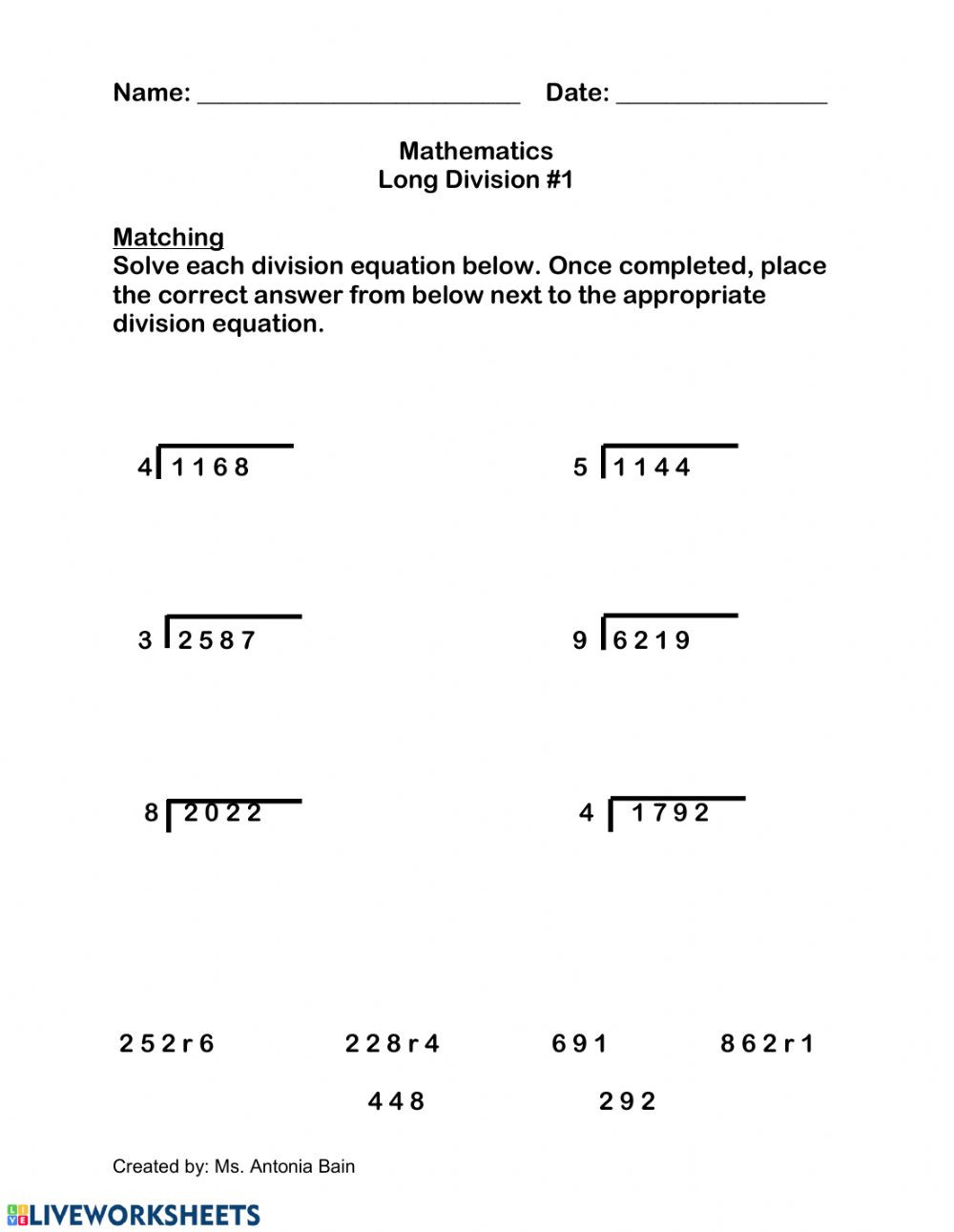 Long Division Worksheets Grade 5 Long Division with Single Digit Divisors Interactive Worksheet
