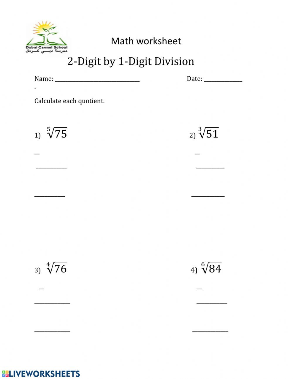 Long Division Worksheets Grade 5 Long Division Worksheet