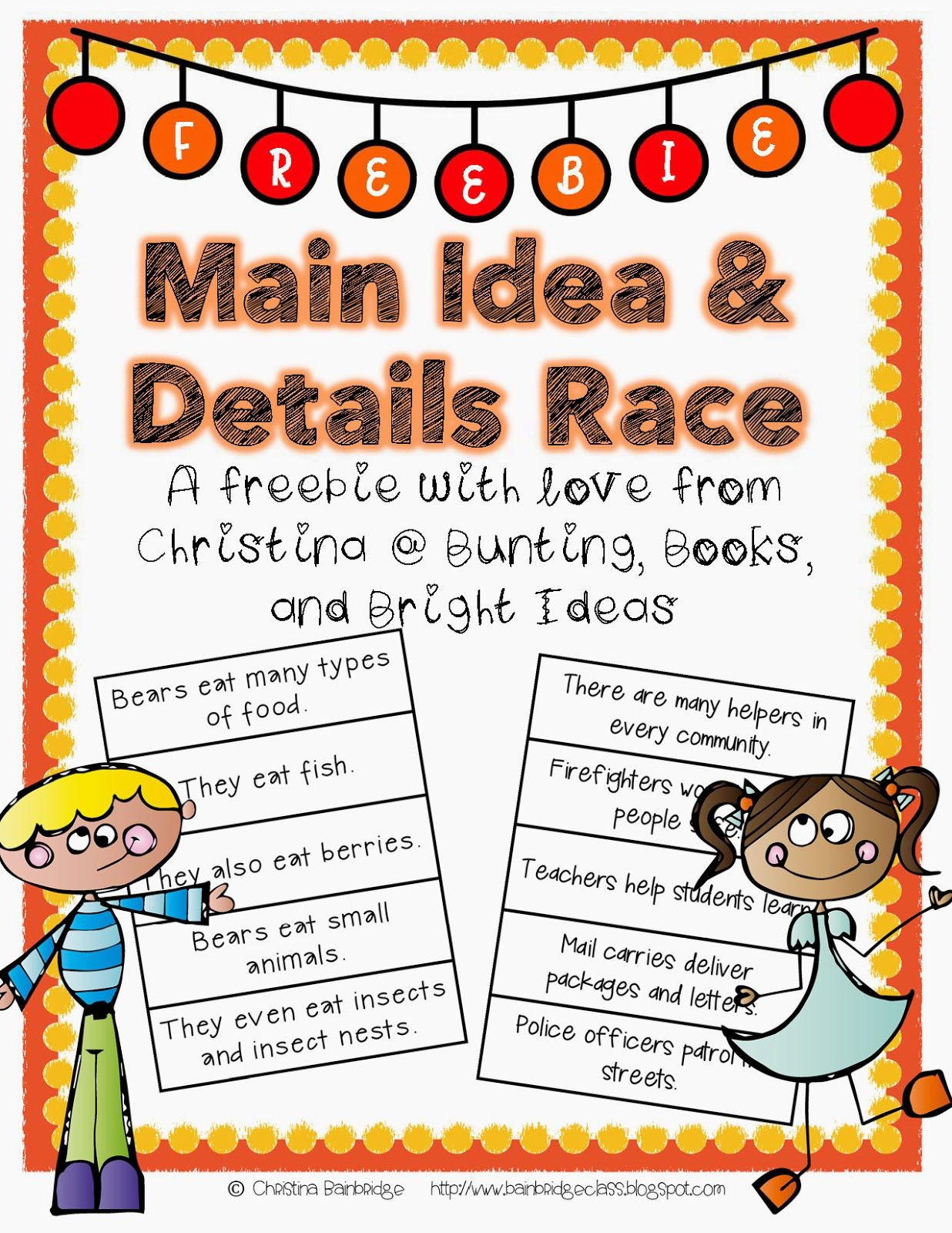 Main Idea First Grade Worksheets Main Idea and Details Freebie