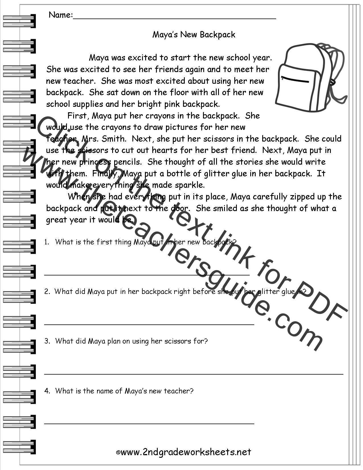 Main Idea First Grade Worksheets Printable Reading Passages for 4th Grade