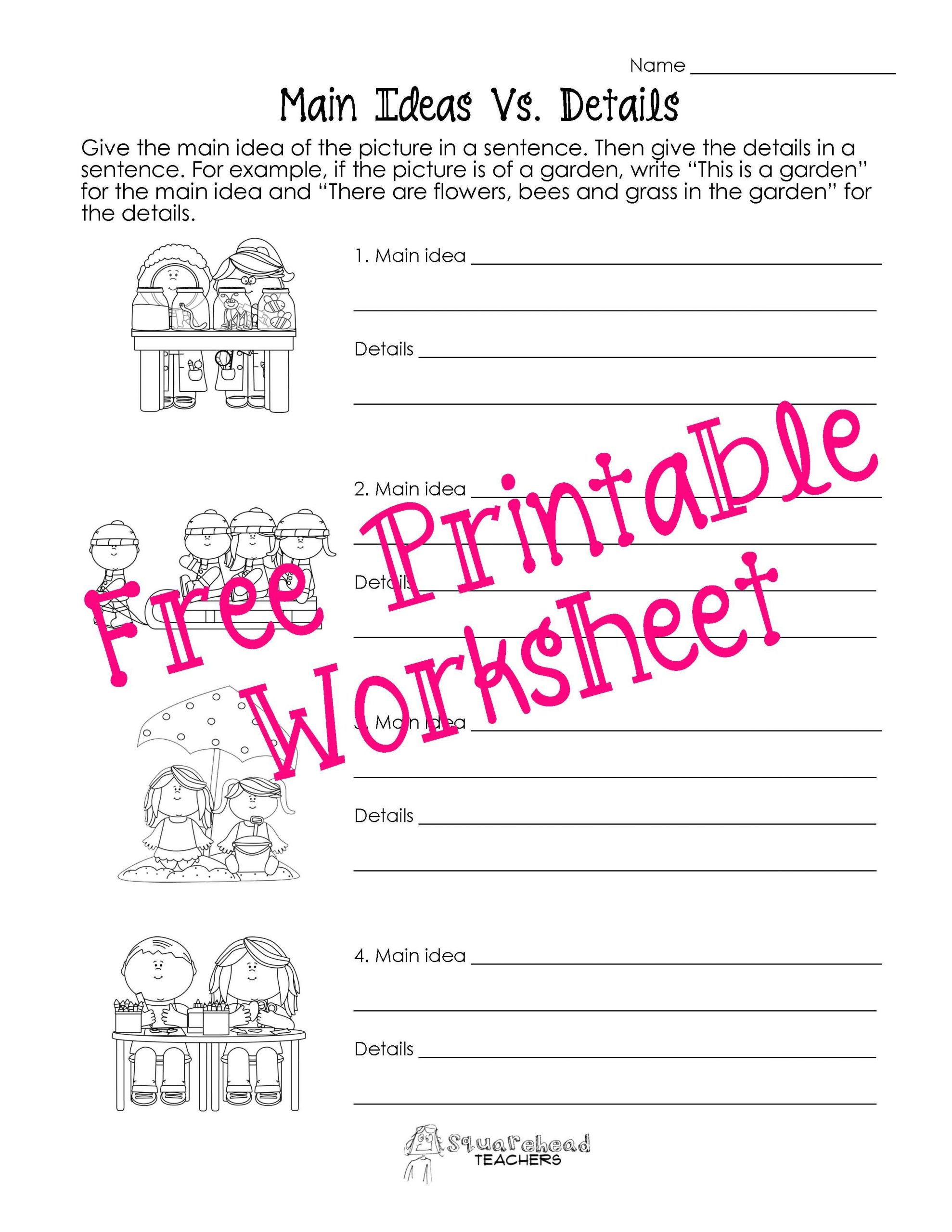 Main Idea Worksheet 1st Grade Main Idea Vs Details Worksheets