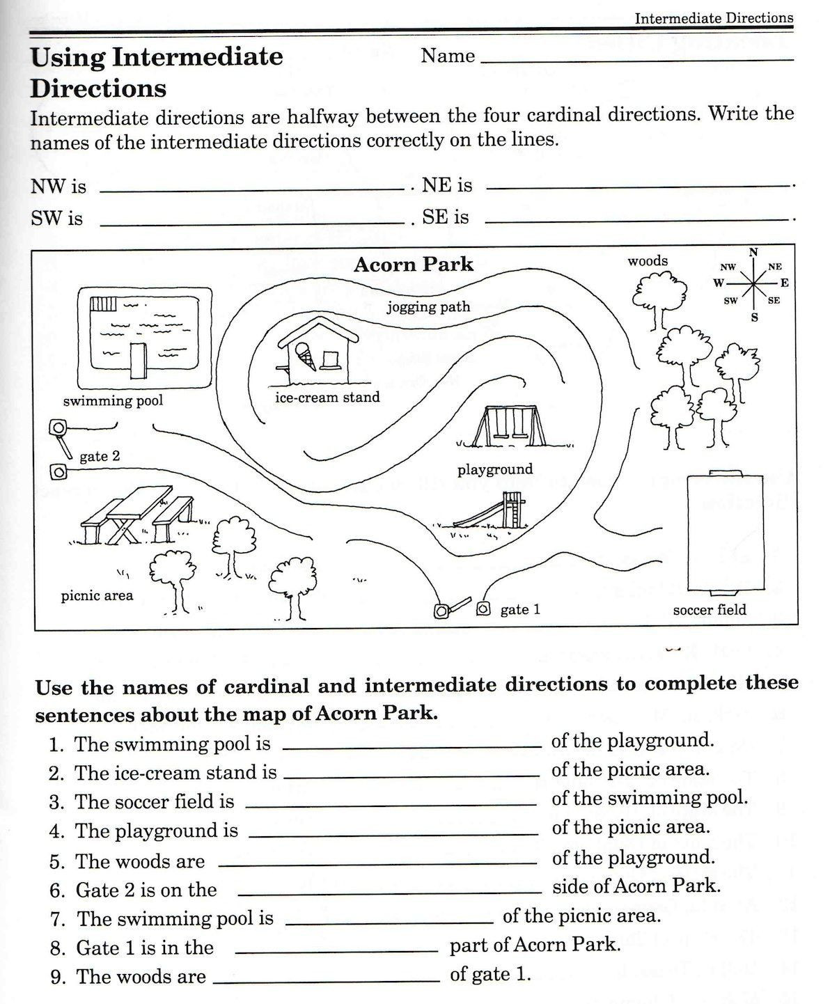 Map Skills Worksheets 3rd Grade 3 Cardinal Direction Map Skills Worksheet Christina Javier