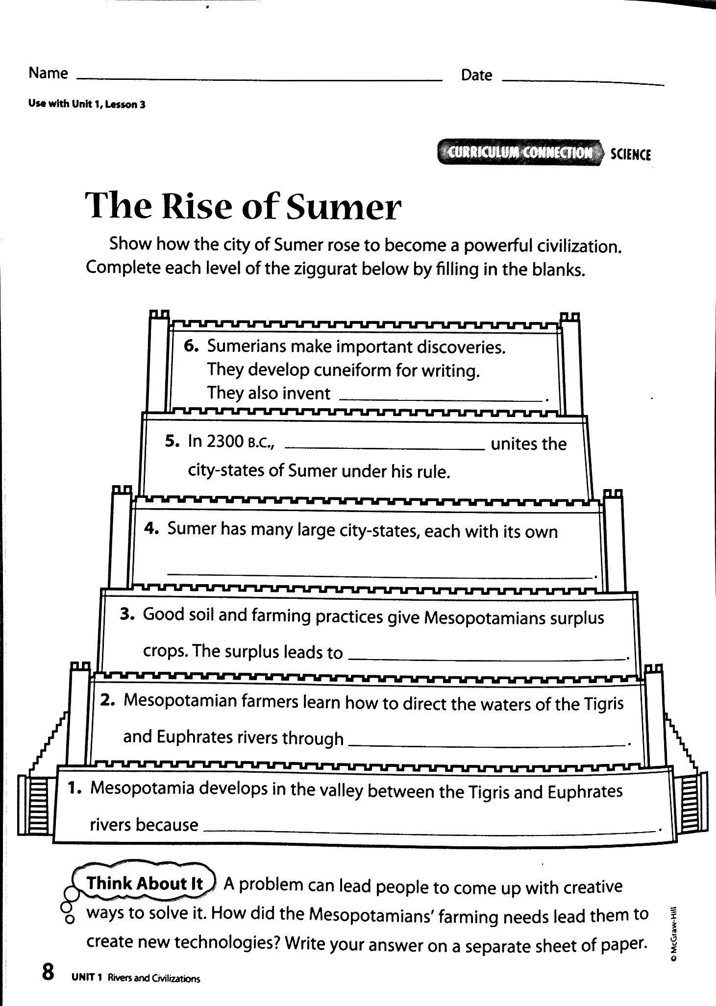 Mesopotamia Worksheets 6th Grade Image Result for Sumerians Math