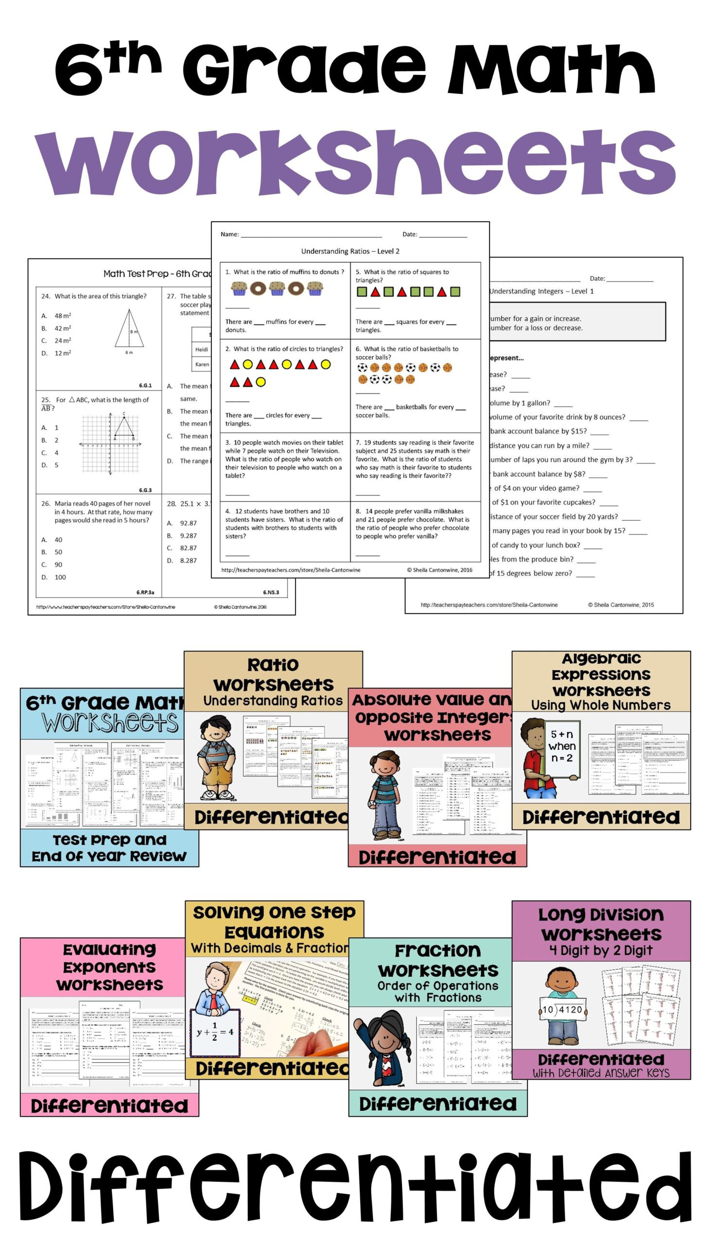 Middle Ages Worksheets 6th Grade 6th Grade Math Differentiated Worksheet Bundle for Centers
