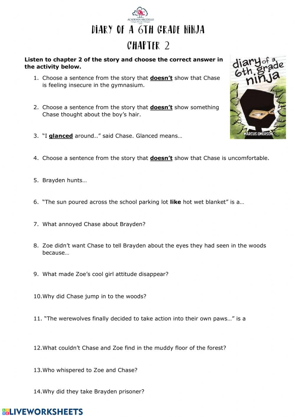 Middle Ages Worksheets 6th Grade Diary Of A 6th Grade Ninja Chapter 2 Interactive Worksheet