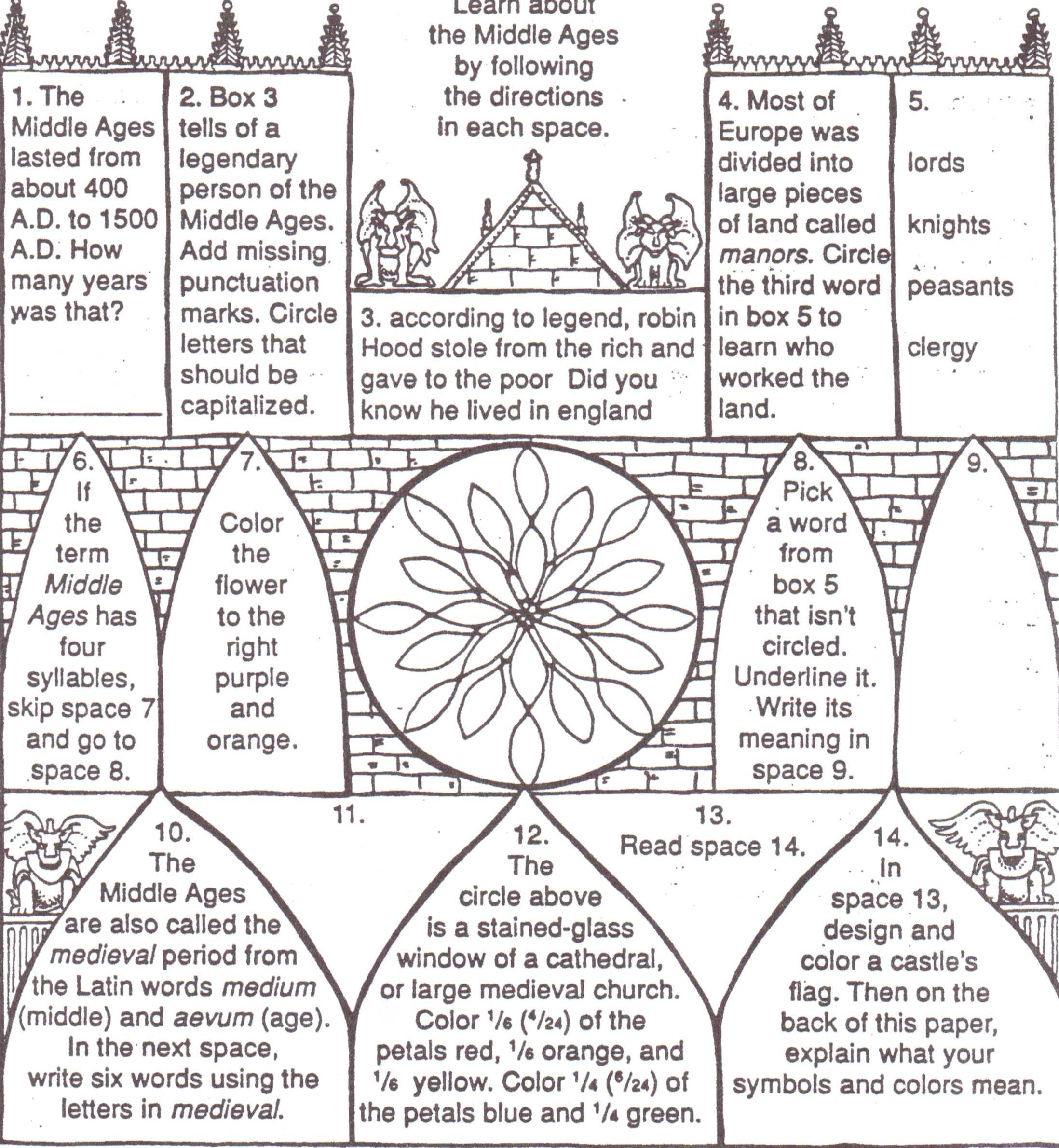 Middle Ages Worksheets 6th Grade Middle Ages for Kids Worksheets the Middle Ages