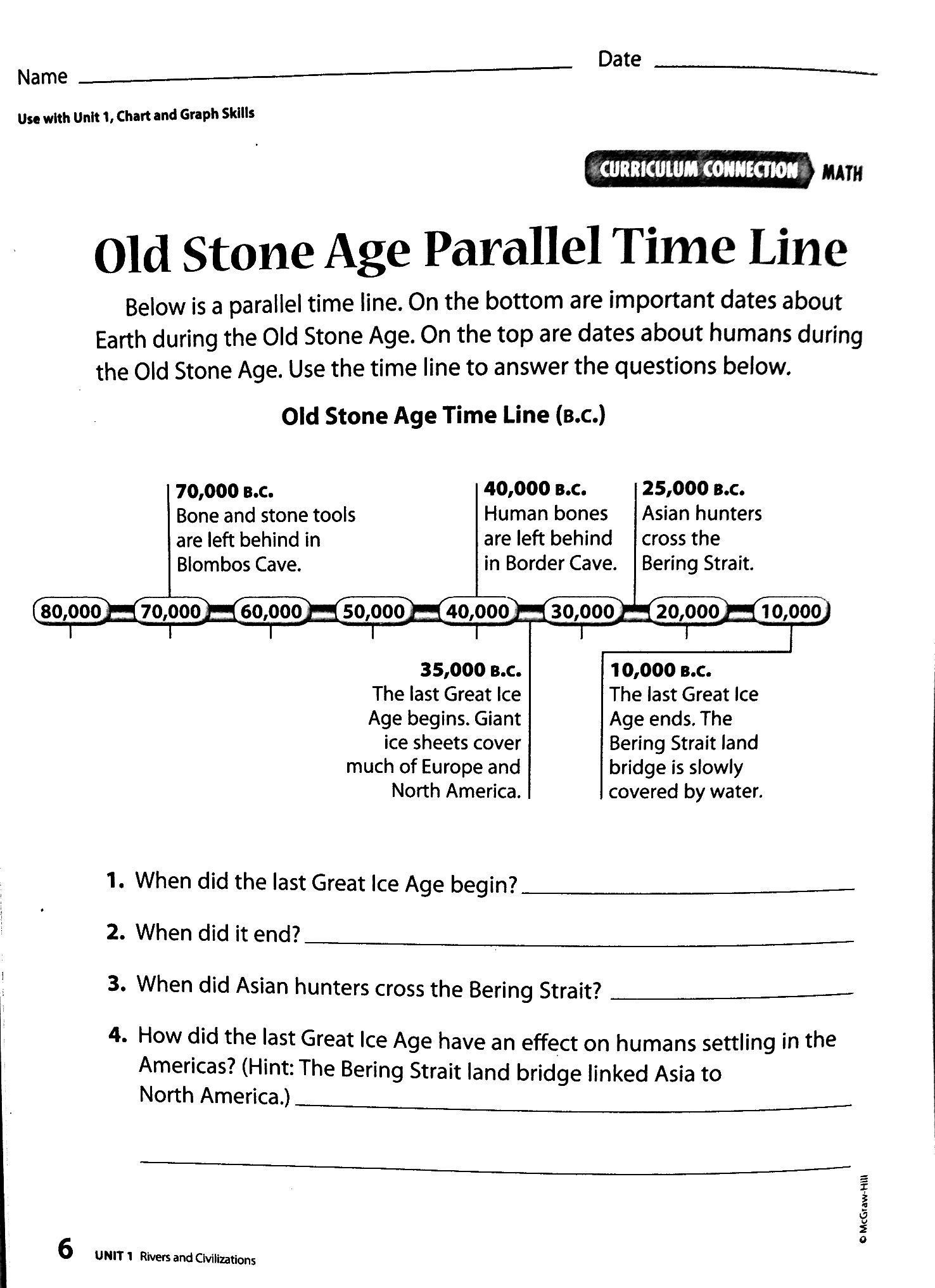 Middle Ages Worksheets 6th Grade Old Stone Age Parallel Time Line 1 476—2 033 Pixels