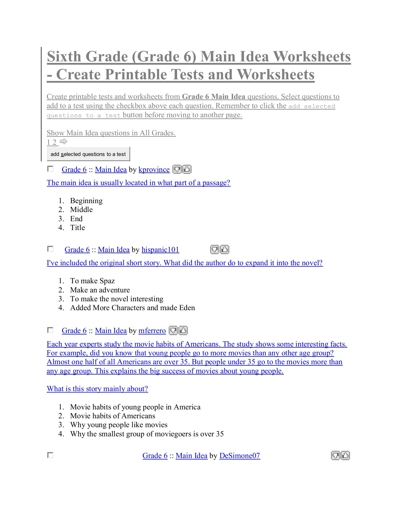 Middle Ages Worksheets 6th Grade Sixth Grade Grade 6 Main Idea Worksheets Create