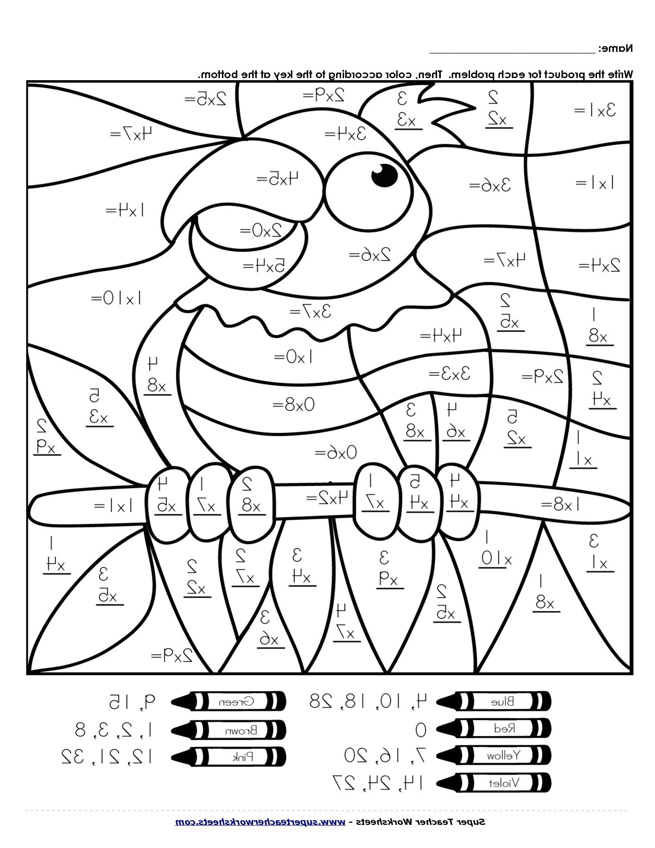 Multiplication Coloring Worksheets 5th Grade Fun Thirdrade Math Printables Tests Reading Prehension