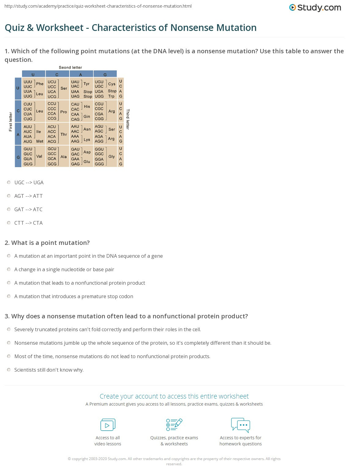 Mutations Worksheet Middle School Quiz & Worksheet Characteristics Of Nonsense Mutation