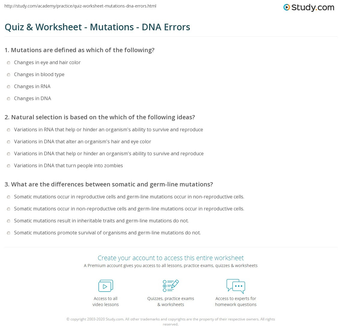 Mutations Worksheet Middle School Quiz & Worksheet Mutations Dna Errors