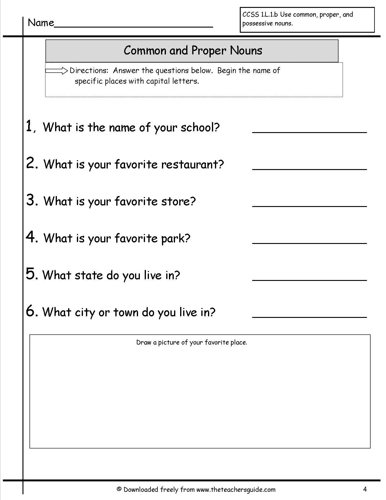 Noun Worksheets 2nd Grade Mon and Proper Nouns Worksheet
