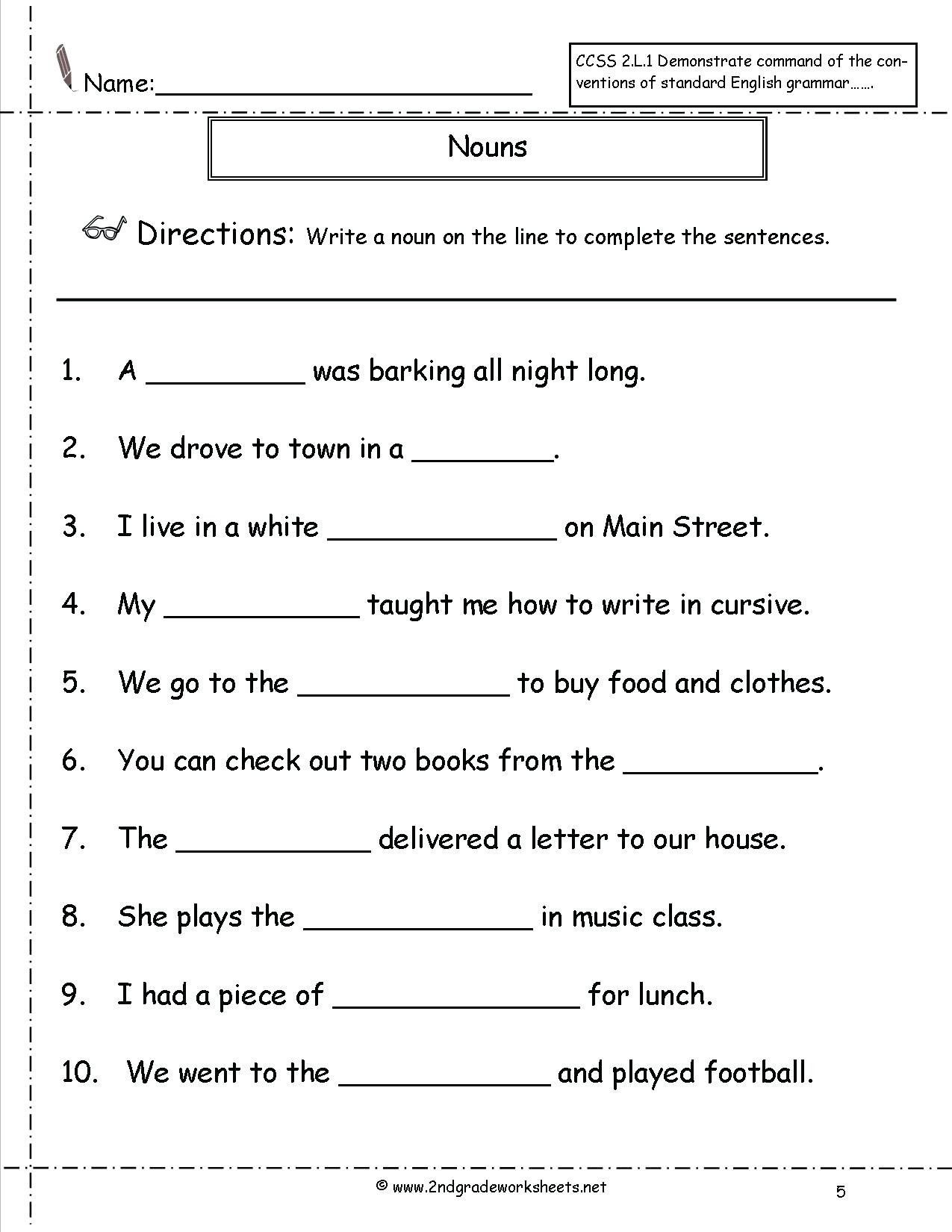 Noun Worksheets 2nd Grade Pin On Educational Worksheets Template