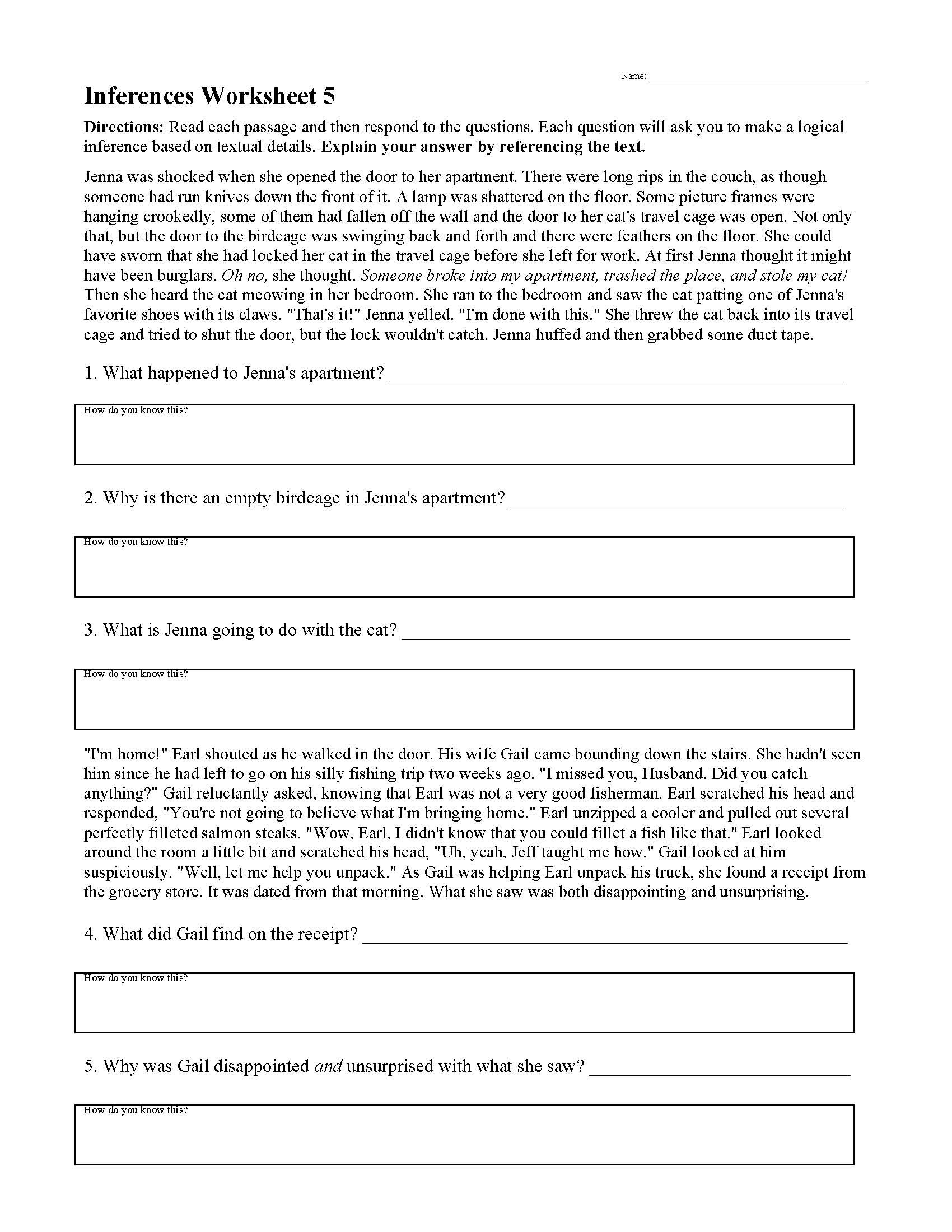 Paragraph Editing Worksheets High School Inferences Worksheets