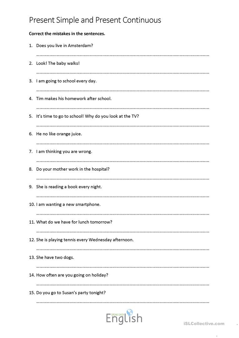 Paragraph Editing Worksheets High School Present Simple Continuous Error Correction with Answers