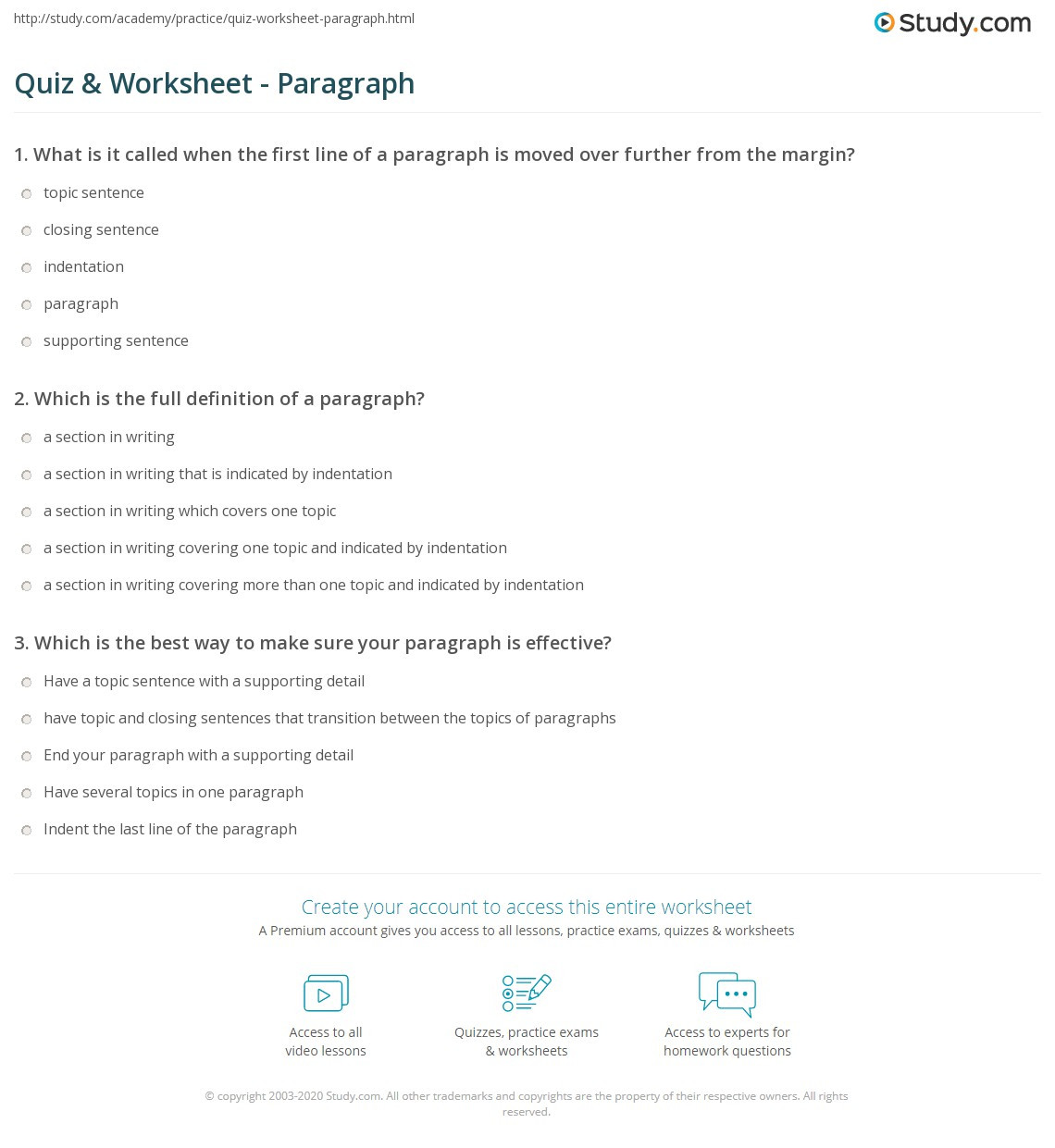 Paragraph Editing Worksheets High School Quiz & Worksheet Paragraph