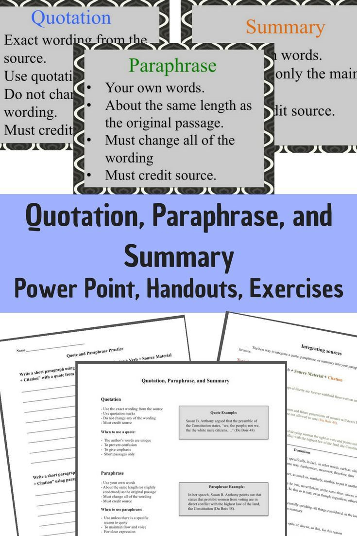 Paraphrase Worksheet Middle School Quotation Paraphrase and Summary