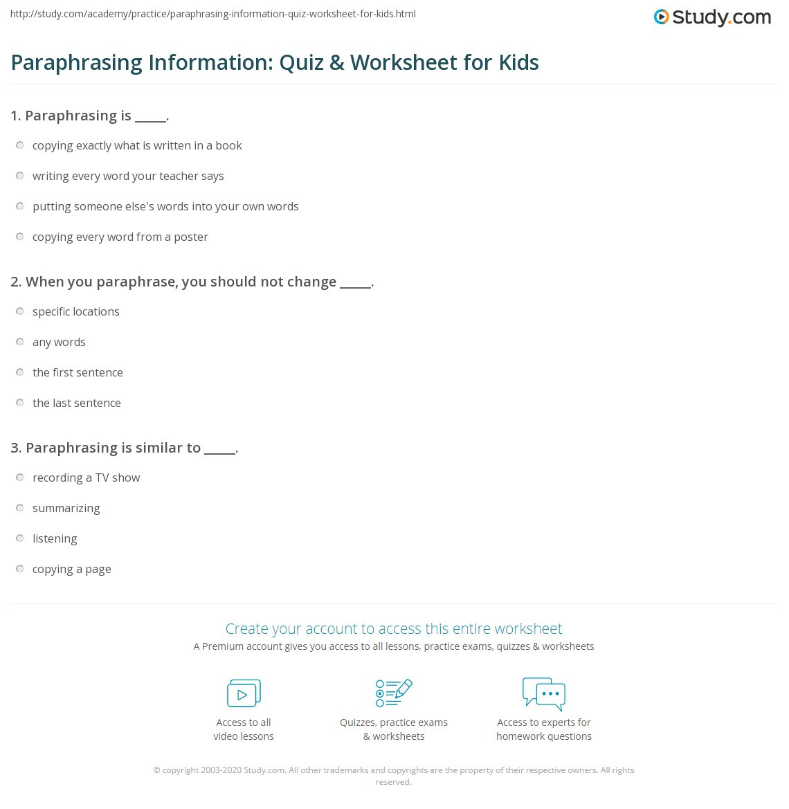 Paraphrasing Worksheet Middle School Paraphrasing Information Quiz & Worksheet for Kids