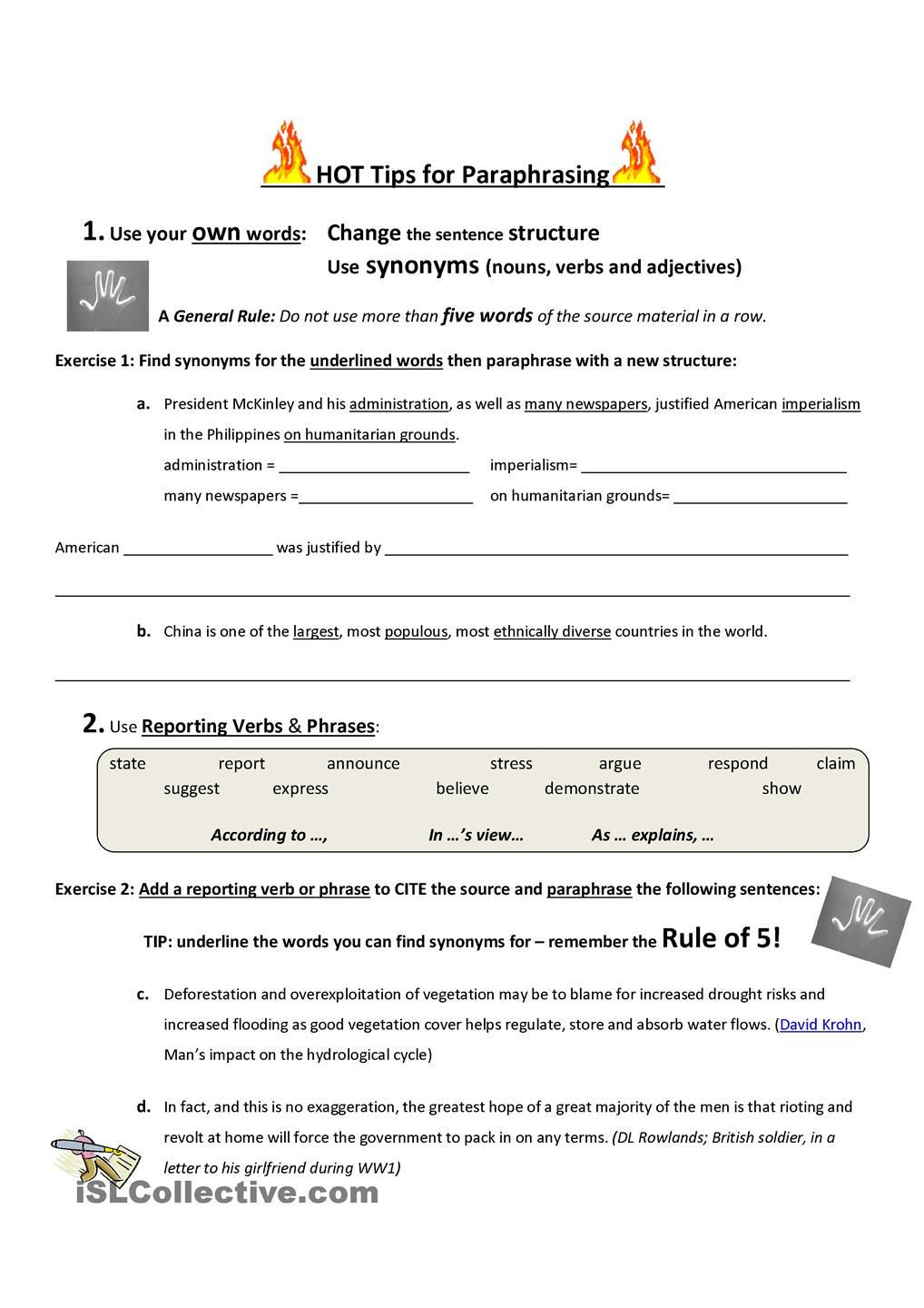 Paraphrasing Worksheets Middle School Hot Tips for Paraphrasing