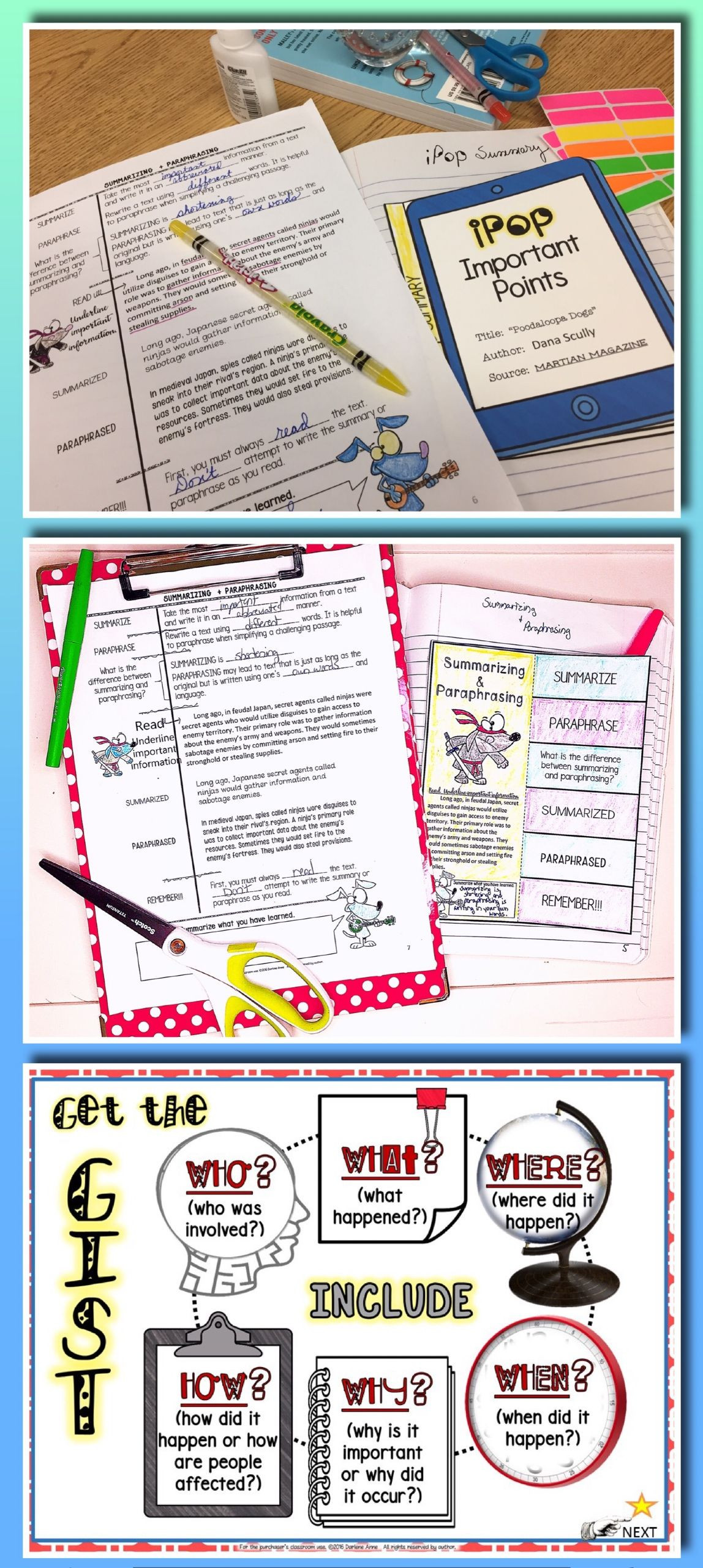 Paraphrasing Worksheets Middle School Summarizing & Paraphrasing Practice Worksheets and Test