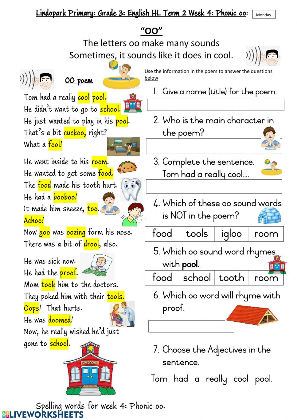 Phonic Worksheets Grade 2 Grade 3 Hl English Term 2 Week 4 Phonic Oo Worksheet 1