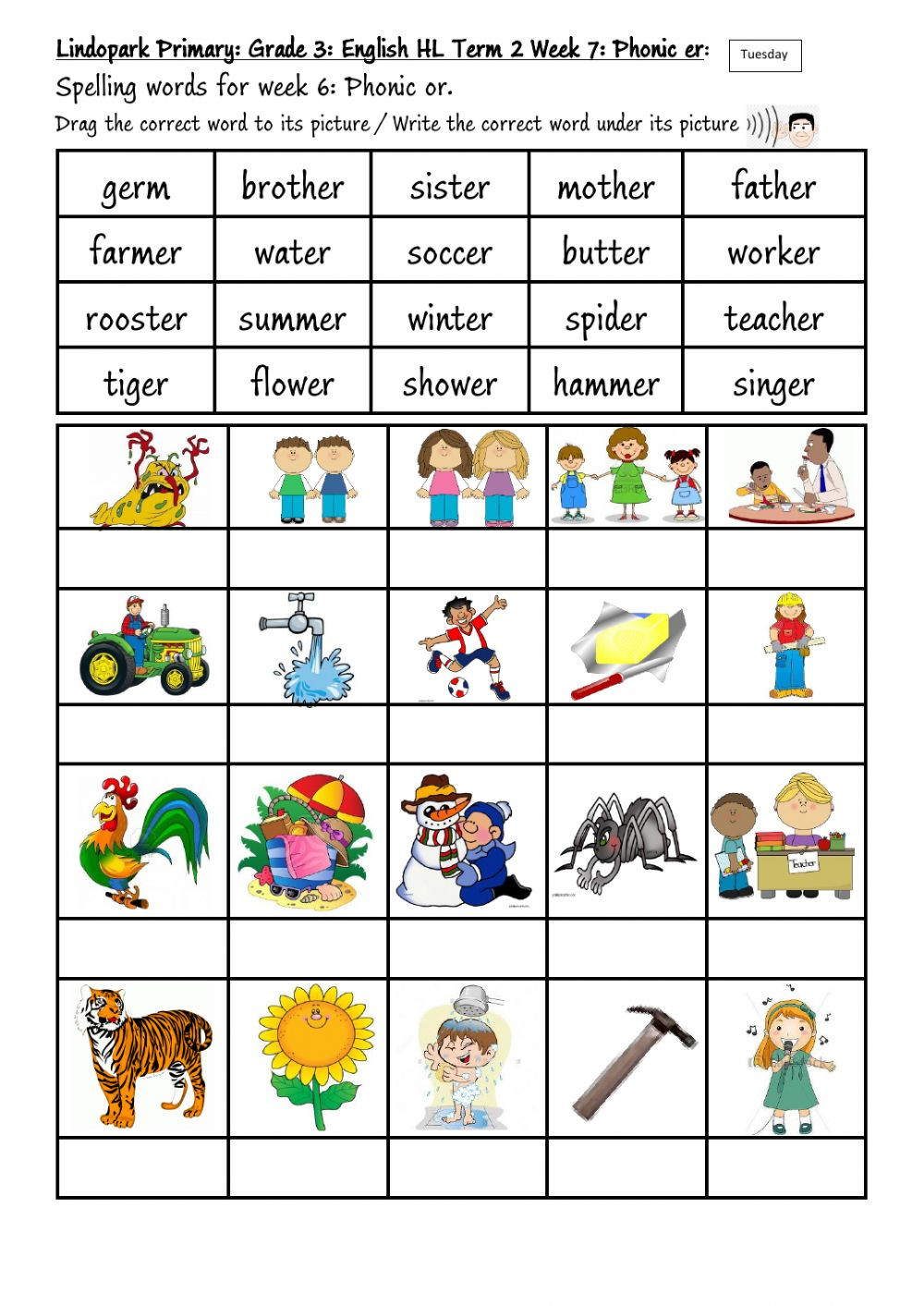 Phonic Worksheets Grade 2 Grade 3 Term 2 Week 7 English Phonic Er Tuesday