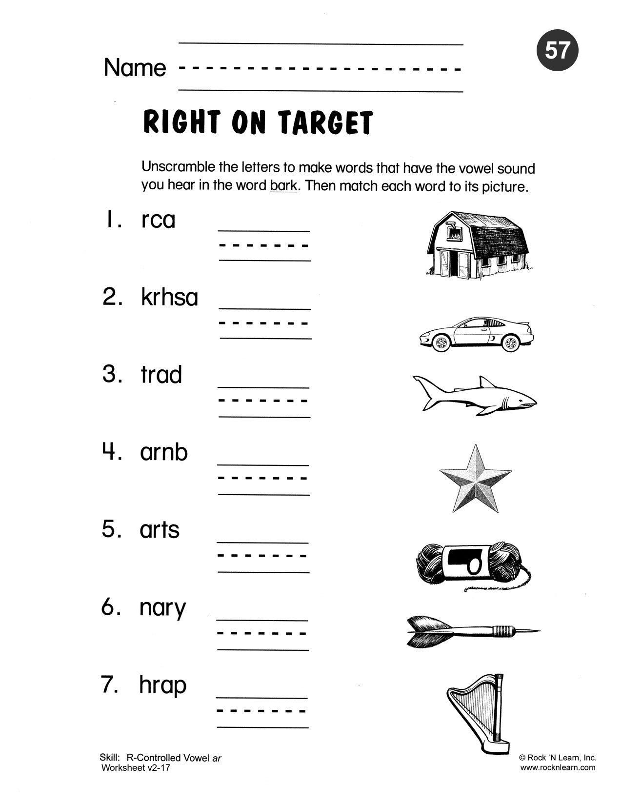 Phonic Worksheets Grade 2 Unscramble the Letters to Make the Words that Have the Vowel
