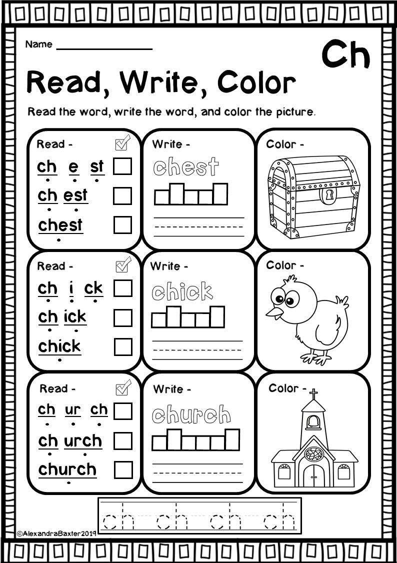 Phonics Worksheets 1st Grade Ch Digraph Worksheets