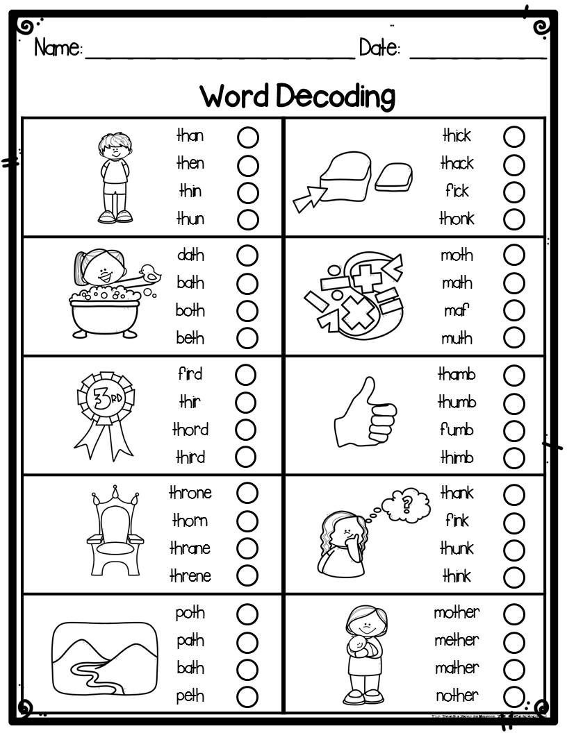 Phonics Worksheets 1st Grade Kindergarten Word Decoding Practice Worksheets & assessments