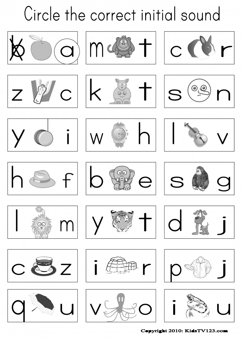 Phonics Worksheets 1st Grade Phonics Worksheets for Kindergarten Free Koogra Throughout