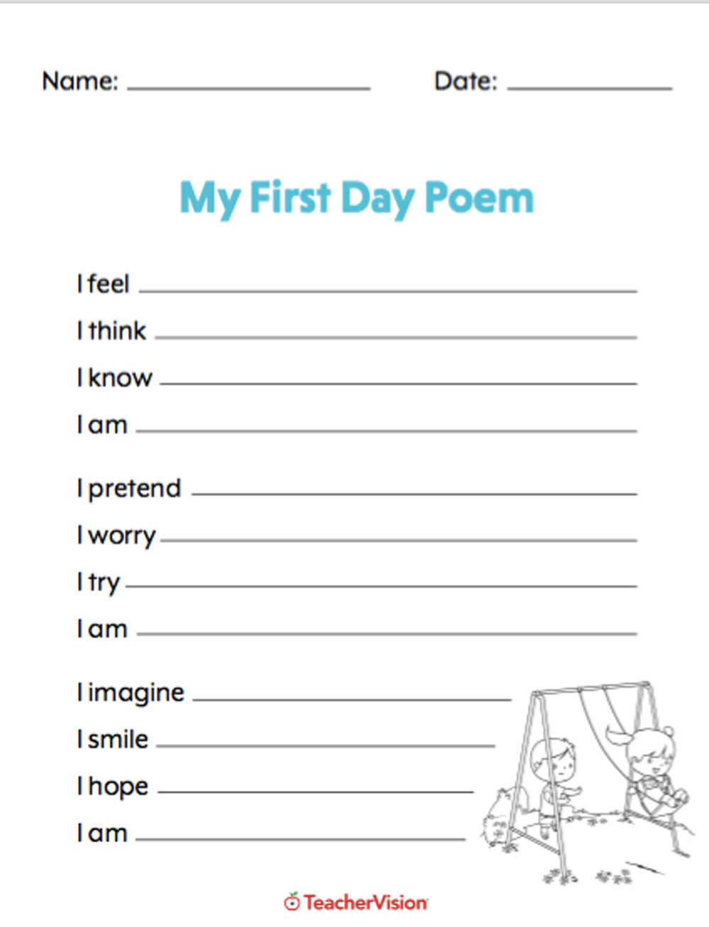 Poetry Worksheet Middle School My First Day Of School Poetry assignment Teachervision