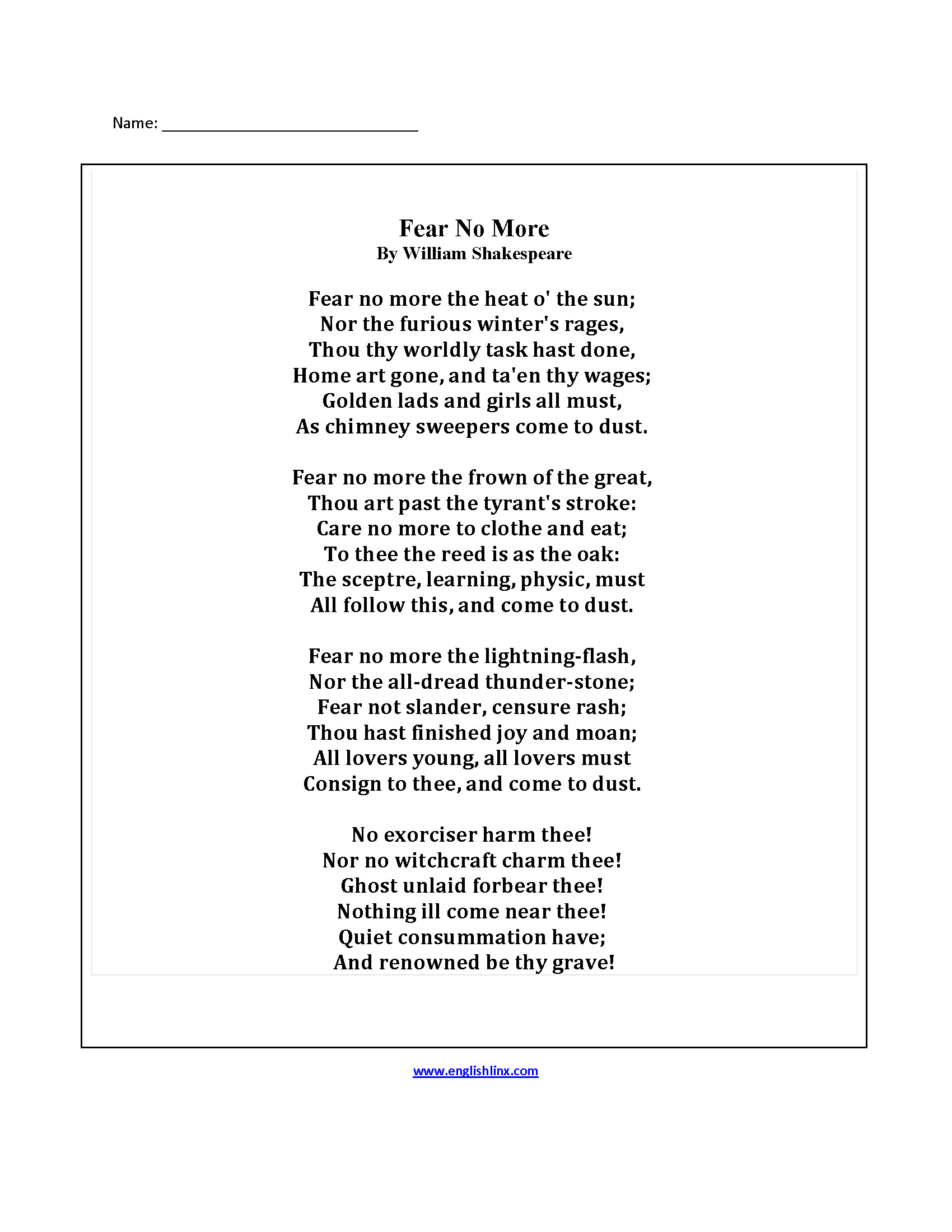 Poetry Worksheet Middle School Poetry Worksheets for Adults
