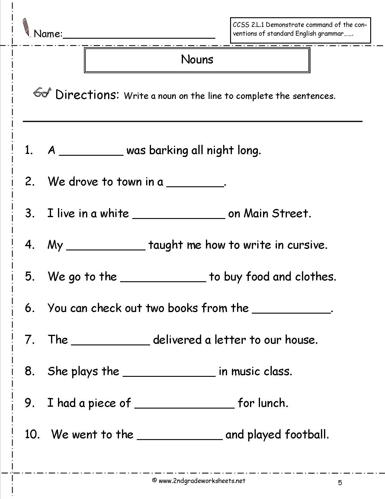 Possessive Noun Worksheet 2nd Grade Noun Worksheets for Grade 1