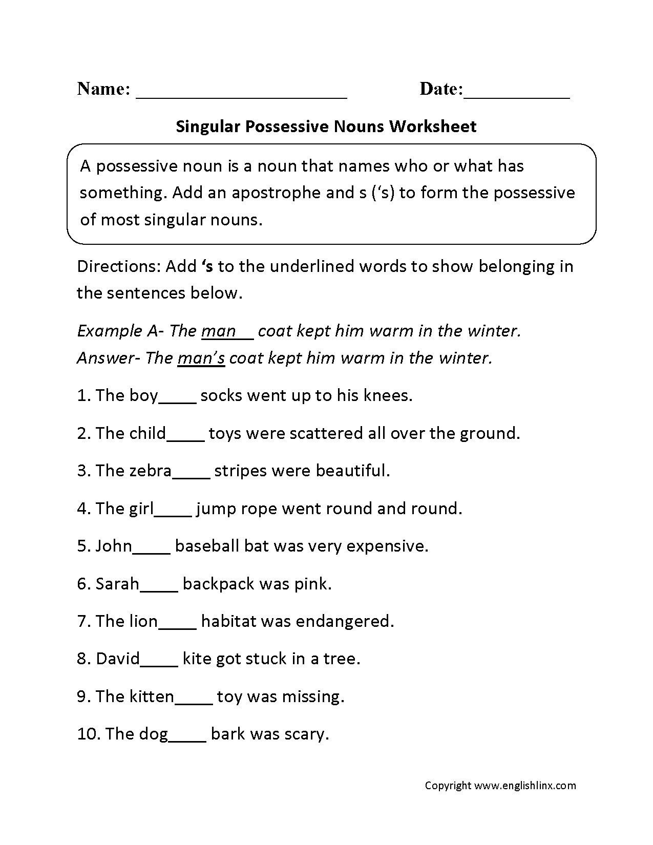 Possessive Nouns Worksheets 2nd Grade 5th Grade English Worksheets Nouns