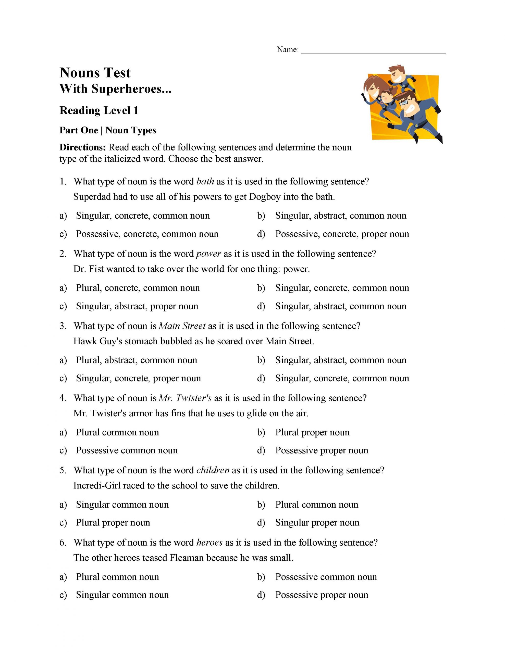 Possessive Nouns Worksheets 3rd Grade Singular Plural and Possessive Nouns Test 1
