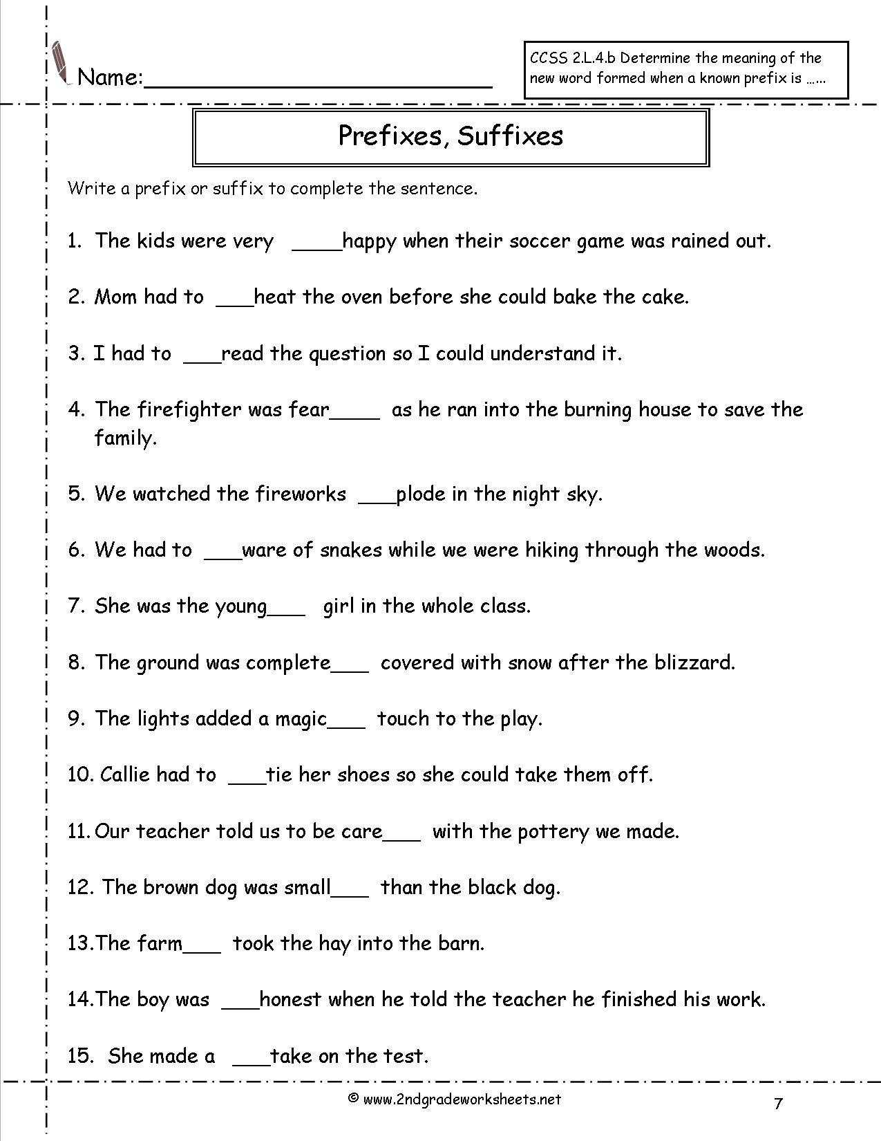 Prefixes Worksheet 2nd Grade Adding and Subtracting Integers Games Math Practice