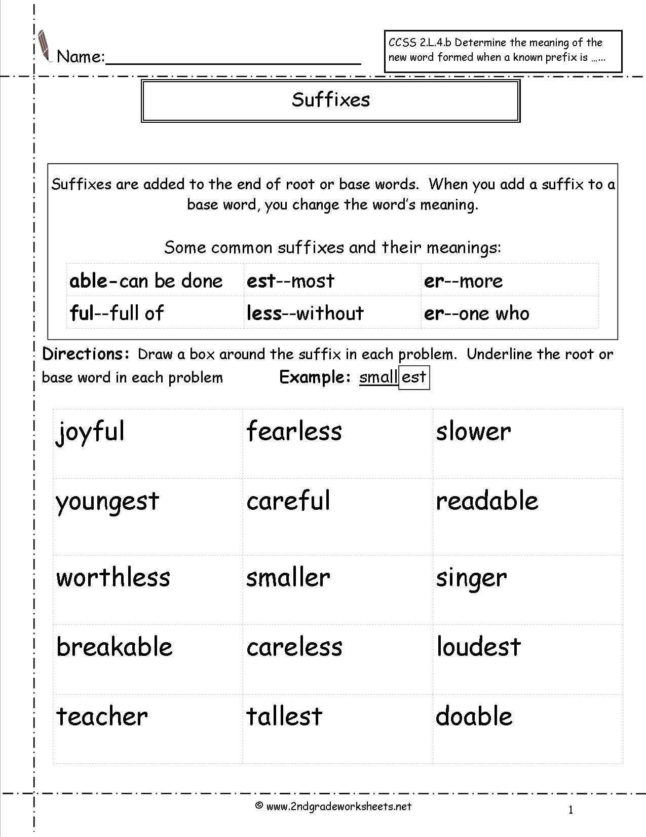 Prefixes Worksheet 2nd Grade Suffix Worksheets 2nd Grade