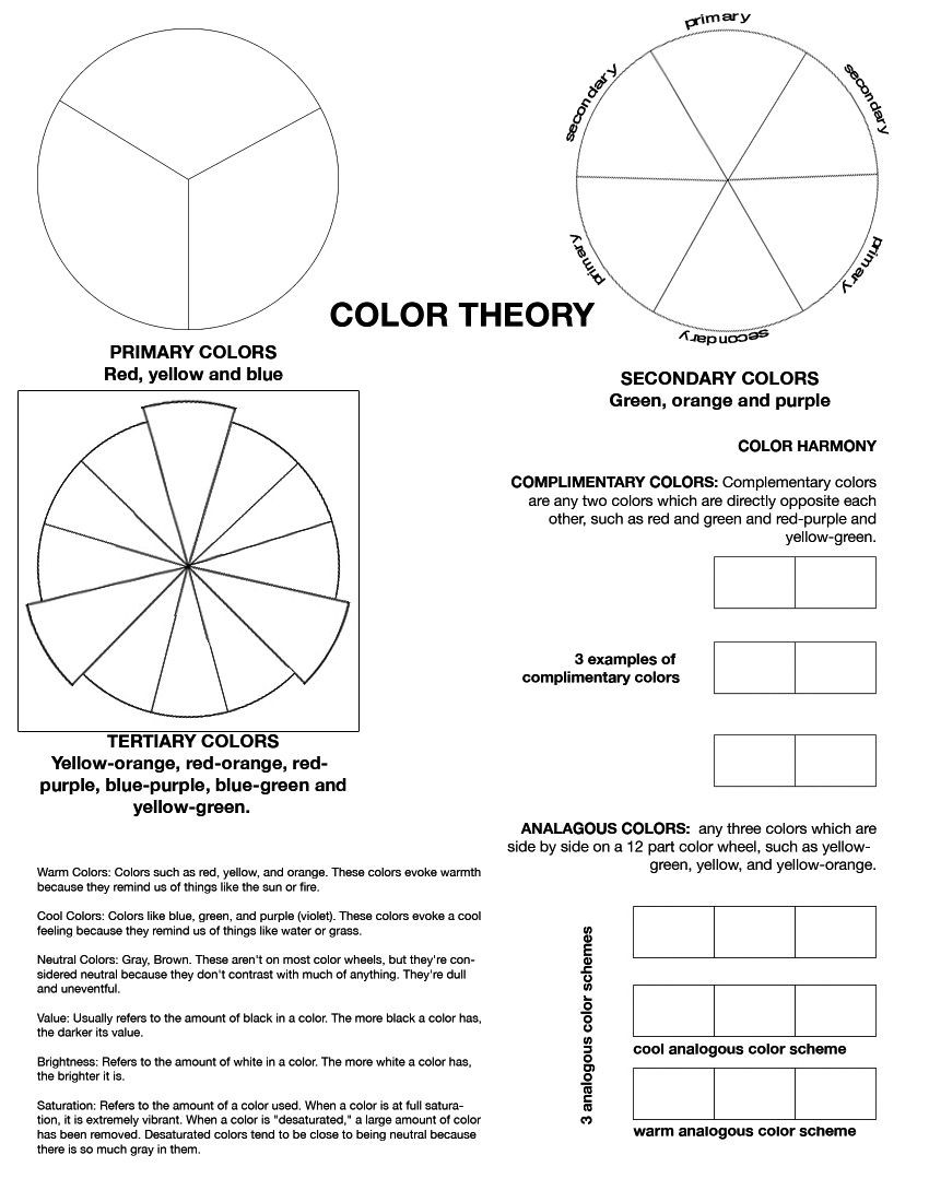 Psychology Worksheets for Highschool Students Color theory Worksheet I Ve Found My Middle School